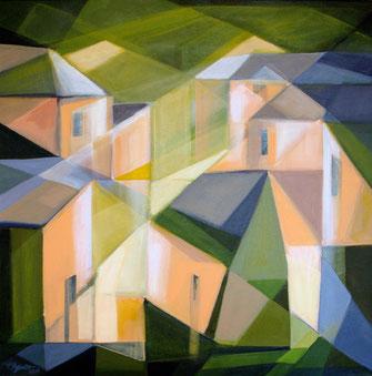 Häuser, Acryl auf Leinwand, 60 x 60 cm, 2017