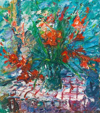 Viktor Lederer, Tonkrug mit Sonnenblumen, 1995, 90 x 80 cm,  Öl auf Leinwand,