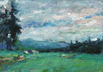 Viktor Lederer, Oberösterreichische Landschaft, 1995, 70 x 100 cm