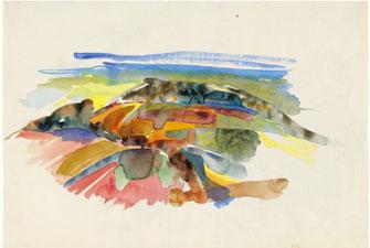 "Leopold Ganzer, ""Thaler Landschaft"", 1957, Aquarell auf Papier, 32,5 x 48 cm"