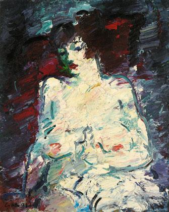Viktor Lederer, Weiblicher Halbakt, 1999, 100 x 80 cm