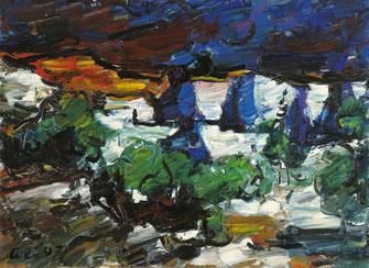 Viktor Lederer, Weisser Steinbruch, 1997, 80 x 110 cm, Öl auf Leinwand,