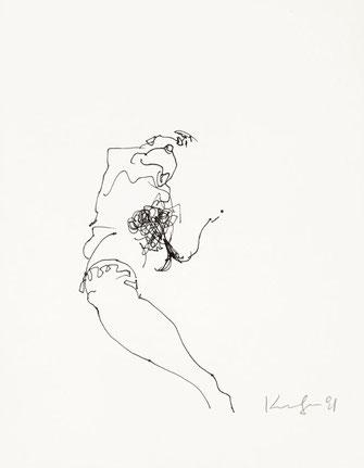 Alfred Kornberger, Akt, 1991, Faserstift auf Papier, 25 x 19,4 cm
