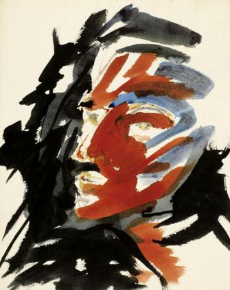 """Leopold Ganzer, """"85-14"""",  1984, Mischtechnik auf Papier, 59 x 47,5 cm"""