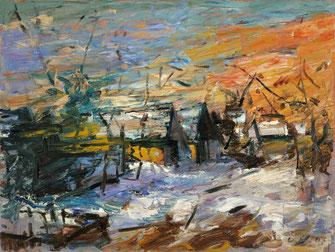 Viktor Lederer, Stadelzeile im Winter, 2007, 75 x 100 cm