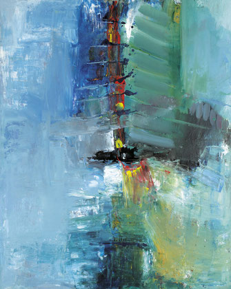 Sinasi Bozatli: Flowing River, Acryl auf Jute, 2014, 150 x 120 cm, Acryl auf Leinwand,