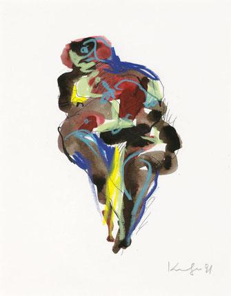 Alfred Kornberger, Akt, 1991, Mischtechnik auf Papier, 25,8 x 21 cm