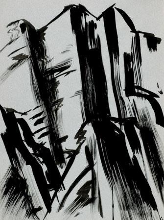 """Leopold Ganzer, """"Felsbruch 84-32"""", 1984, Tusche auf Papier, 64 x 48 cm"""