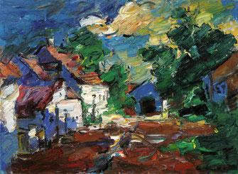 Viktor Lederer, St. Margarethener Bauernhof, 2004, 80 x 110 cm,  Öl auf Leinwand,