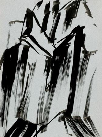 """Leopold Ganzer, """"Felsbruch 84-33"""", 1984, Tusche auf Papier, 64 x 48 cm"""