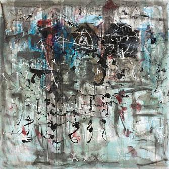 Ausstellung Hans Staudacher in der galerie artziwna, Spuren, Öl auf Leinwand