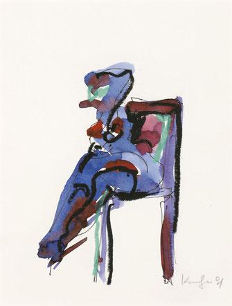 Alfred Kornberger, Bunter sitzender Akt in Blau, 1991, Mischtechnik auf Papier, 25,8 x 21 cm