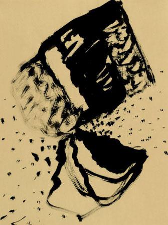 """Leopold Ganzer, """"93-11-13"""". 1998, Tusche auf Papier, 64 x 48"""
