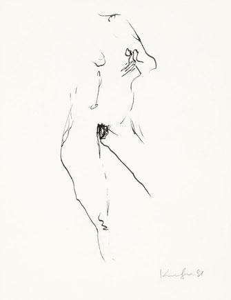 Alfred Kornberger, Stehender Akt, 1991, Mischtechnik auf Papier, 25 x 19,5 cm