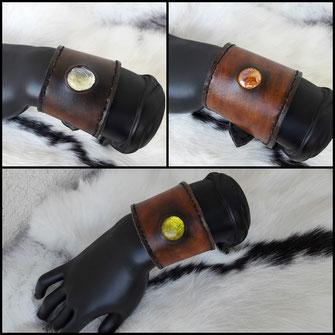 bracelet cuir avec pierre incrustée paraphernalia création