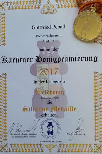 Kärntner Honigprämierung 2017 - Silbermedaille