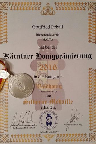 Kärntner Honigprämierung 2016 - Silbermedaille