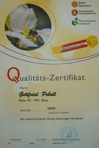Österreichische Honiggütesiegel 2010