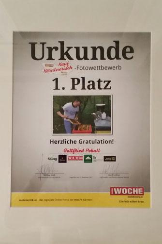 """1.Platz bei der Fotoaktion """"Kauf Kärntnerisch"""" 2017"""