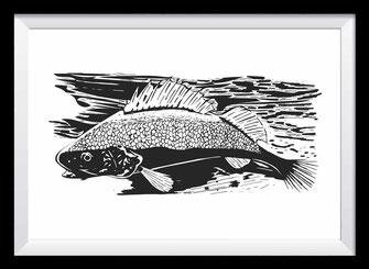 Fisch auf Holz Illustration, Zeichnung in schwarz-weiß