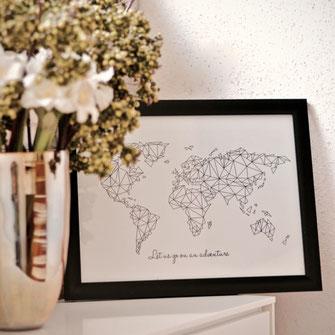 Creative Lifestyles Illustrationen, World Map, Polygon Art in schwarz-weiß