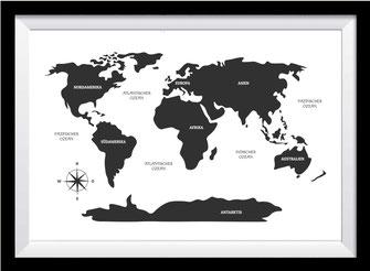 Illustration - schwarz-weiß - Weltkarte mit Kontinente
