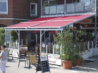 Flächenmarkise für Terrasse in der gastronomie