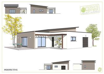 maison de plain pied avec toit terrasse et toit monopente avec enduit blanc et marron clair