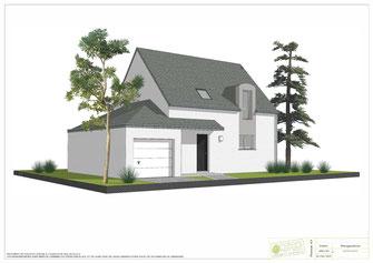 maison à étage toit double pan en ardoise et enduit bicolore