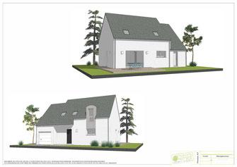 maison à étage 3 chambre avec enduit blanc et charpente traditionnelle couverte en ardoise