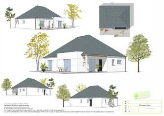 Maison de plain pied avec charpente traditionnelle et enduit blanc, couverture en ardoise naturelle