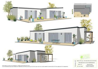 maison moderne de plain pied avec toit monopente et toit terrasse sur un dégradé de gris