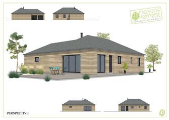 maison neuve de plain pied, en ossature bois avec un bardage marron, une charpente traditionnelle en deux pans et une couverture en ardoises naturelles, avec un double garage.