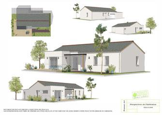 maison moderne plain pied avec enduit blanc