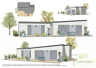 maison plain pied 3 chambres avec toits plats dégradé de gris pour l'enduit