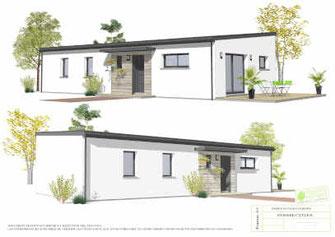 maison rectangulaire toit monopente bac acier et enduit blanc