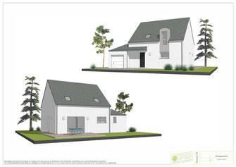 maison à étage traditionnelle avec enduit bicolore gris et blanc