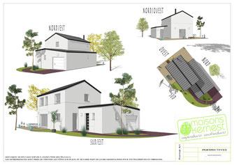 maison à étage contemporaine avec toiture zinc et enduit blanc