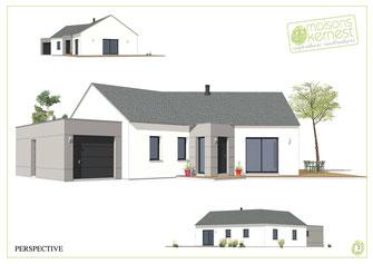 Maison neuve plain pied 4 chambres avec un garage, une charpente traditionnelle, une couverture en ardoises, et un enduit gris en blanc.
