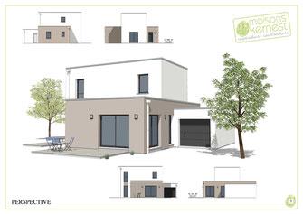 maison moderne à étage avec toit terrasse et enduit marron clair et blanc