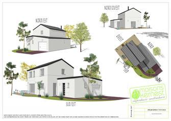 maison moderne à étage avec enduit blanc