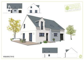 maison à étage avec une charpente traditionnelle une lucarne et un enduit bicolore bleu clair et blanc