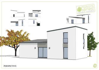 Perspective d'une maison neuve à 1 étage avec enduit gris en blanc, avec deux pans de toiture en monopente et une couverture en zinc