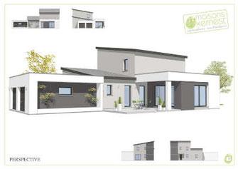 maison moderne à étage avec double garage et toiture zinc