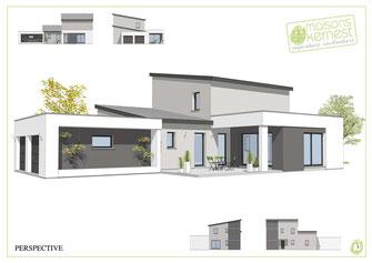 maison moderne à étage avec toits monopentes et enduit gris
