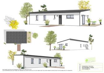 maison rectangulaire moderne de plain pied avec toit monopente et enduit blanc