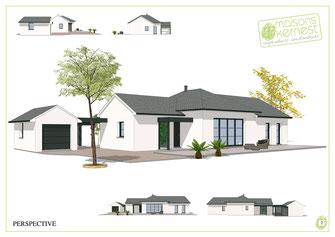 maison traditionnelle de plain pied avec garage séparé 3 chambres et enduit blanc