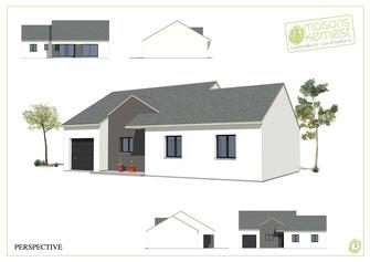 maison plain pied à toit double pan en ardoise avec enduit bicolore