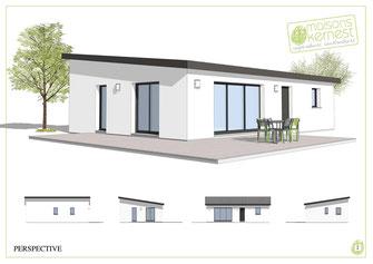 maison moderne de forme rectangulaire avec toit monopente et enduit blanc
