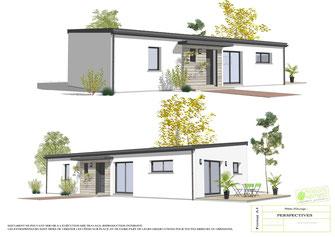 maison moderne plain pied toit monopente avec enduit blanc